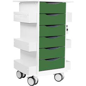 "TrippNT™ Core Locking 6 Drawer Lab Cart, 23""W x 19""D x 35""H, Hosta Leaf Green"