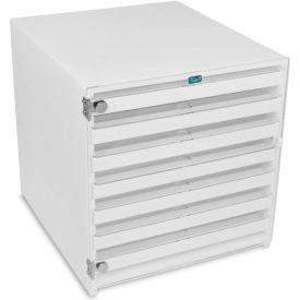 "TrippNT™ 51409 White HDPE Mega 108 Column HPLC Locking Storage Cabinet, 15""W x 16""D x 16""H"