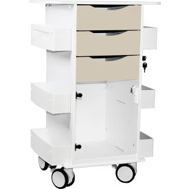 "TrippNT™ Deluxe Medical Cart with Clear Hinged Door, Almond Beige, 23""W x 19""D x 35""H"