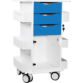 "TrippNT™ Deluxe Medical Cart with Clear Hinged Door, Global Blue, 23""W x 19""D x 35""H"