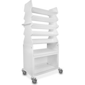 """TrippNT™ Extra Wide Tall Slanted Suture Cart with Bulk Storage Area, 27""""W x 17""""D x 56""""H, White"""