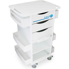 """TrippNT™ White Core DX Storage Cart with Extra Shelf and Clear Sliding Door, 23""""W x 18""""D x 35""""H"""