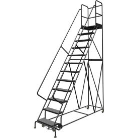 "12 Step 24""W 30""D Top Step Steel Rolling Ladder, Perforated Tread, 36"" Handrail - KDSR112246-D3"