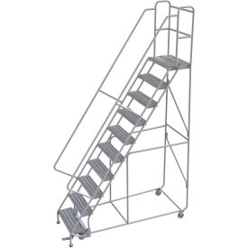 "10 Step Aluminum Rolling Ladder, 24""W Ribbed Tread, 14""D Top Step, 32"" Handrails - WLAR110244"