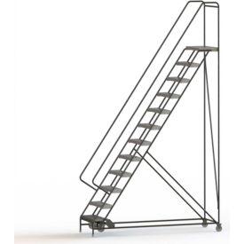 "12 Step Aluminum Rolling Ladder, 24""W Ribbed Tread, 14""D Top Step, 42"" Handrails - WLAR112244C"