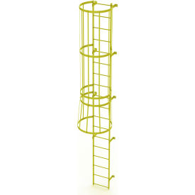 18 Step Steel Caged Fixed Access Ladder, Safety Yellow - WLFC1118-Y