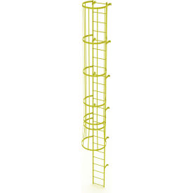 24 Step Steel Caged Fixed Access Ladder, Safety Yellow - WLFC1124-Y