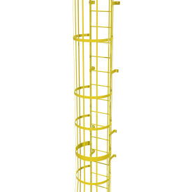 25 Step Steel Caged Walk Through Fixed Access Ladder, Safety Yellow - WLFC1225-Y