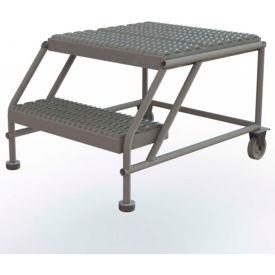 "2 Step Mobile Work Platform 24""W x 24""L, No Handrails, Gray - WLWP022424"