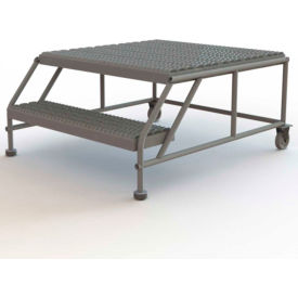 "2 Step Mobile Work Platform 36""W x 36""L, No Handrails, Gray - WLWP023636"