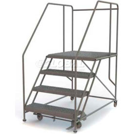 "Mobile 4 Step Steel 36""W X 36""L Work Platform Ladder - 800 Lb. Capacity"