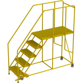 "5 Step Steel Double Entry Mobile Platform, 24""L x 48""W, 42"" Handrails - WLWP152448SLC-Y"