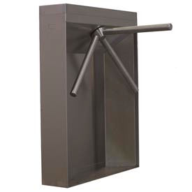3-Arm Mechanical Turnstile Right Handed w/ Locked Exit - Stainless Steel Cabinet