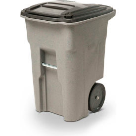 Toter Heavy Duty Two Wheel Trash Cart 48 Gallon Graystone Ana48 00gst