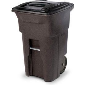 Toter Heavy Duty Two-Wheel Trash Cart, 64 Gallon, Brownstone - ANA64-00BST