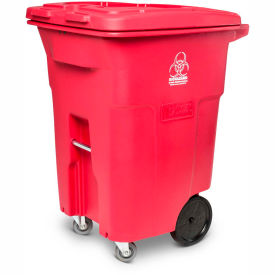 Toter 2-Wheel Medical Waste Cart w/Casters, 96 Gallon Red - RMC96-00RED