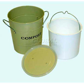 "2-N-1 Compost Bucket, Small, 7-1/2""Dia. 9-3/4""H, Oatmeal"