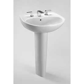 "TOTO® LPT241.4G-01 Supreme® Lavatory & Pedestal W/4"" Centers, Cotton White"
