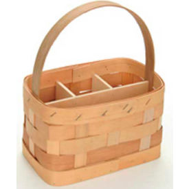 """Large Rectangle 11"""" x 7"""" Silverware Wood Basket with Wood Handle & Sections 4 Pc - Lemon - Pkg Qty 4"""