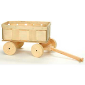 Wagon Wood 2 Quart Basket with Pull Handle & Wheels 4 Pc - Hunter Green - Pkg Qty 4
