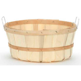 1 Bushel Shallow Wood Basket with Two Metal Handles 12 Pc - Natural - Lemon - Pkg Qty 12