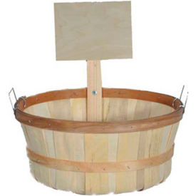 1 Bushel Shallow Wood Basket with Metal Handles & Wood Sign 6 Pc - Cranberry - Pkg Qty 6
