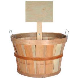 1/2 Bushel Wood Basket with Metal Handles & Wood Sign 6 Pc - Red - Pkg Qty 6