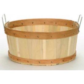 1/2 Bushel Shallow Wood Basket with Two Metal Handles 12 Pc - Mahogany Stain - Pkg Qty 12