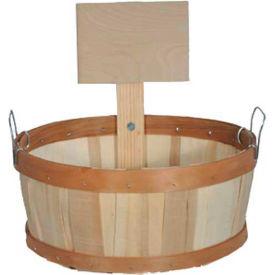 1/2 Bushel Shallow Wood Basket with Metal Handles & Wood Sign 6 Pc - Fuschia - Pkg Qty 6