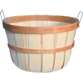 1/2 Bushel Round Bottom Wood Basket with Two Metal Handles 12 Pc - Natural - Pkg Qty 12