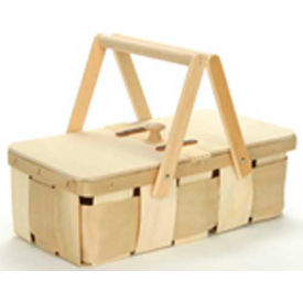 """8 Quart Rectangle 16.63"""" x 9"""" Picnic Wood Basket with Two Wood Handles & Lid 4 Pc - Honey Stain - Pkg Qty 4"""