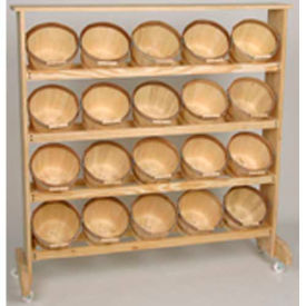"""Wood Rack 48""""H x 48""""W x 7-1/4""""D with (20) 1/2 Peck Baskets - Natural"""