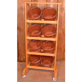 """Wood Rack 48""""H x 20-1/2""""W x 7-1/4""""D with (8) 1/2 Peck Baskets - Natural"""