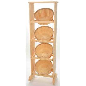"Wood Rack 51""H x 45""W x 11-1/4""D with (4) 1 Bushel Baskets - Mahogany Stain"