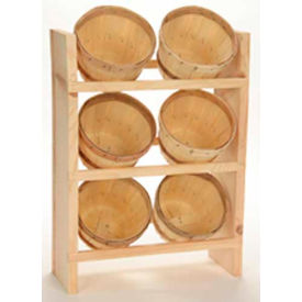 """Wood Counter Rack 20""""H x 10""""W x 6""""D with (6) 1/8 Peck Baskets - Eggplant"""