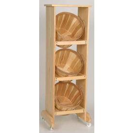 "Wood Rack 48""H x 16""W x 16""D with (3) 1/2 Bushel Baskets - Honey Stain"