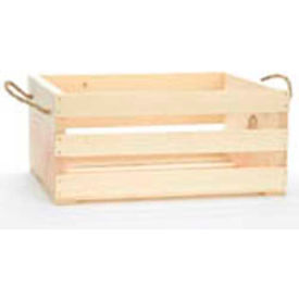 """Large Wood Crate 16""""W x 13""""D x 7-1/2""""H with Two Rope Handles 2 Pc - White Stain - Pkg Qty 2"""
