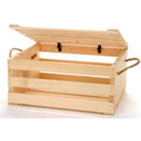 """Large Wood Crate 16""""W x 13""""D x 8""""H with Two Rope Handles & Lid 2 Pc - Eggpalnt - Pkg Qty 2"""