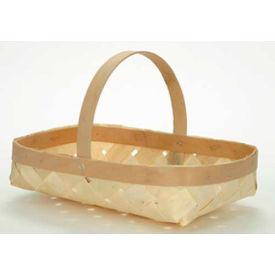 "16 Quart 16-3/4"" x 10-1/2"" Shallow Wood Basket with Wood Handle 10 Pc - Sage - Pkg Qty 10"