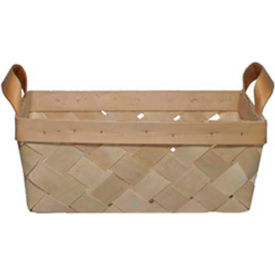 "Large Rectangle 14"" x 10"" Wood Basket with Two Wood Handles 10 Pc - Orange - Pkg Qty 10"