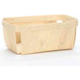 "2 Quart Rectangle 9-1/2"" x 5"" Wood Basket 48 Pc - Honey Stain - Pkg Qty 48"