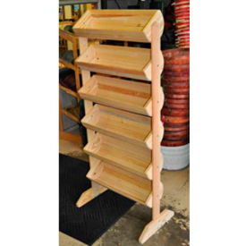 "Wood Barrel Rack 58""H x 27""W x 16""D with (6) Small Barrels - Natural"