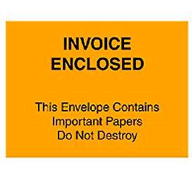 """Orange Invoice Enclosed - Full Face 4-1/2"""" x 6"""" - 1000 Pack"""