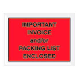 "4-1/2 x 6"" Red Important Invoice and/or/Packing List Enclosed - Full Face - 1000/Pack"