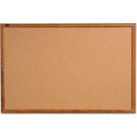 "Quartet® Cork Bulletin Board - 17"" x 23"" - Oak Finish Frame"