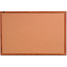 "Quartet® Cork Bulletin Board - 36"" x 24"" - Oak Finish Frame"