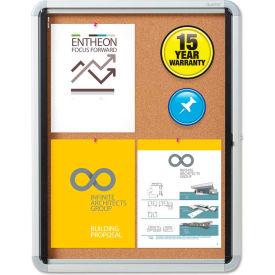 "Quartet® Enclosed Bulletin Board - Cork with Aluminum Frame - 21"" x 27"" - 1 Door"