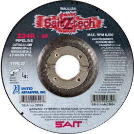 "United Abrasives - Sait 22623 Depressed Center Wheel T27 Z-TECH 6""x 1/8"" x 7/8"" 24 Grit Zirconium - Pkg Qty 25"
