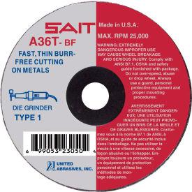 """United Abrasives - Sait 23042 Cut Off Wheel Type 1 A36T 3"""" x 1/16"""" x 1/4"""" 36 Grit Aluminum Oxide - Pkg Qty 50"""