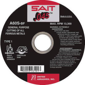 "United Abrasives - Sait 23101 Depressed Center Wheel T1 4-1/2""x .045"" x 7/8"" 60 Grit Alum. Oxide - Pkg Qty 50"